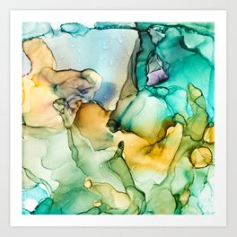 Caribbean Beach- Alcohol Ink Abstract Painting Art Print