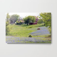 Old Red Barn and Rolling Bluebonnet Hills Metal Print