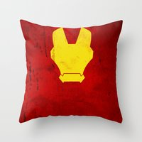 iron man Throw Pillows featuring Iron Man by theLinC