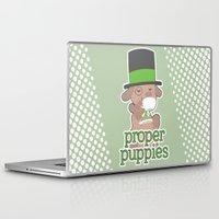 puppies Laptop & iPad Skins featuring Proper Puppies by Jillian Story (TalaSeba)