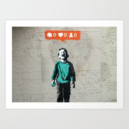 Banksy, social life, likes Art Print