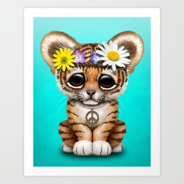 Cute Baby Tiger Cub Hippie Art Print