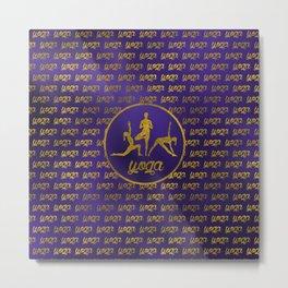 Golden Yoga Asanas Symbols  on  purple Metal Print