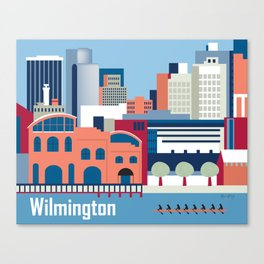 Wilmington, Delaware - Skyline Illustration by Loose Petals Canvas Print