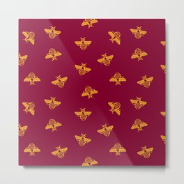 Gold yellow bee in red background Metal Print