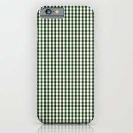 Small Dark Forest Green and White Gingham Check iPhone Case