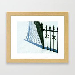 Black Wrought Iron Gate in th Snow Framed Art Print