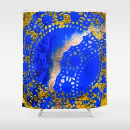 Royal Blue and Gold Abstract Lace Design Shower Curtain