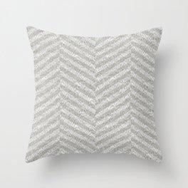 Mid-Century Modern Stripped Chevron Cerused Wood White Grey Throw Pillow