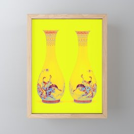 A PAIR OF FAMILLE ROSE 'EIGHT GEESE' VASES REPUBLIC PERIOD (1912-1949) Neon art by Ahmet Asar Framed Mini Art Print