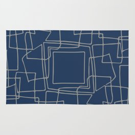 Decorative blue and grey abstract squares Rug