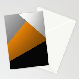 Metallic I - Abstract, geometric, metallic textured gold, silver and black metal effect artwork Stationery Cards