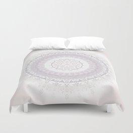 Floral Damask Mandala Blush White Duvet Cover