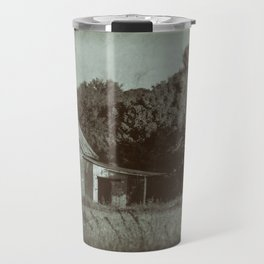 Patriotic Barn in Field Vintage Black and White Glass Plate Rural Landscape Photo Travel Mug