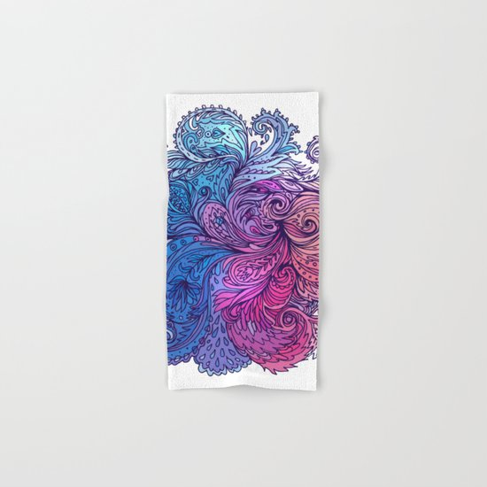 Blue Floral Indian Pattern Hand & Bath Towel