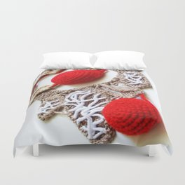 Red Cream Romanian Point Lace Photography  Duvet Cover