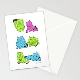 Fluro Cats Stationery Cards
