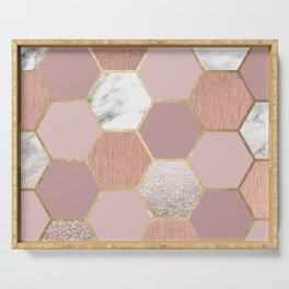 Indulgent desires rose gold marble Serving Tray