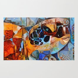 Sea Turtle Abstract Illustration Rug