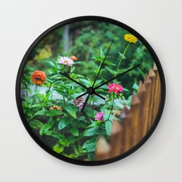 fence flowers Wall Clock