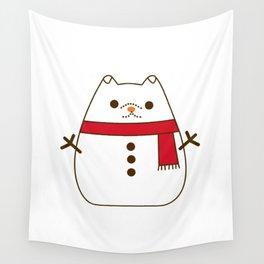 Cute Christmas Snowman Pupsheen Wall Tapestry