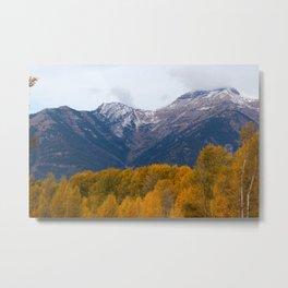 Autumn Leaves, Winter Mountains Metal Print