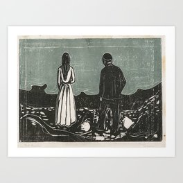 Munch, Edvard (1863-1944) Two Human Beings. The Lonely Ones. Art Print