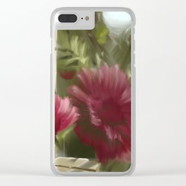 Aster at the fence Clear iPhone Case