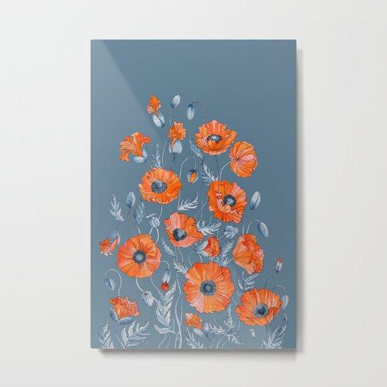 Red poppies in grey Metal Print