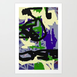 Purple, Green & Gray Abstract Art Print