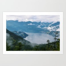 Fog over the water in Squamish BC Art Print