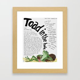 Toad In The Hole Framed Art Print