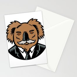 Koala With Moustache Woodcut Color Stationery Cards