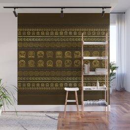Maya Calendar Glyphs pattern Gold on Brown Wall Mural