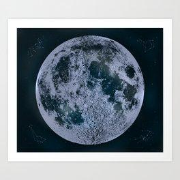 Large Night Sky Moon Print, by Christy Nyboer Art Print