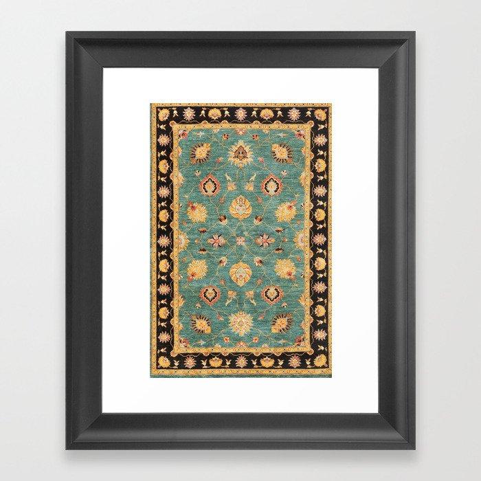 Oushak  Antique Gold Teal Turkish Rug Print Gerahmter Kunstdruck