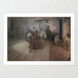 Henry Ossawa Tanner - Spinning by Firelight - The Boyhood of George Washington Gray Art Print