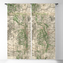 Vintage Map of The Rocky Mountains (1885) Blackout Curtain