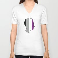 asexual V-neck T-shirts featuring Asexual Love by Winter Graphics