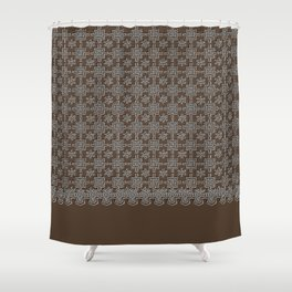 Rich Chocolate Color Crochet Square Lace Pattern Shower Curtain