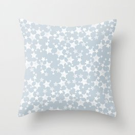Block Printed Dusty Blue and White Stars Pattern Throw Pillow