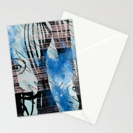 Blue Watercolor Drawing with Black Pattern: Scribble Series 04 Stationery Cards