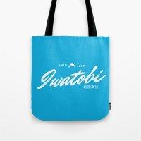 iwatobi Tote Bags featuring Iwatobi High School Swim Club by A Siren Song
