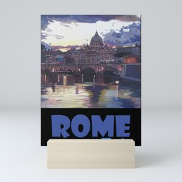 Rome Italy Retro Travel Poster Mini Art Print