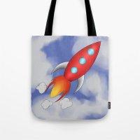 rocket Tote Bags featuring Rocket by PrisonBlockS