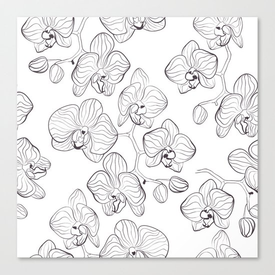 The White Orchid. Black and white pattern . Canvas Print