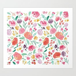 Peony Roses and Floral blooms Art Print