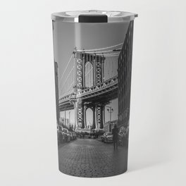 New York City Bridge (Black and White) Travel Mug