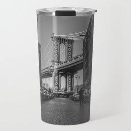 New York City Bridge (Black and White) Travel Mug
