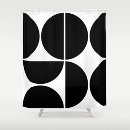 Mid Century Modern Black Square Shower Curtain